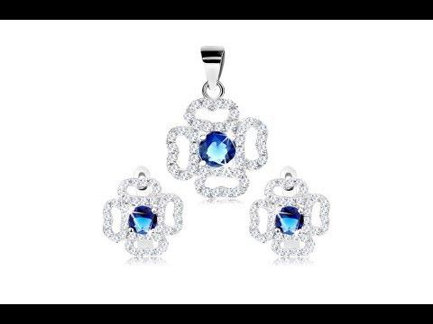 b33f06de3 Šperky - Sada zo striebra 925, náušnice a prívesok, číry obrys kvetu, modrý  zirkón