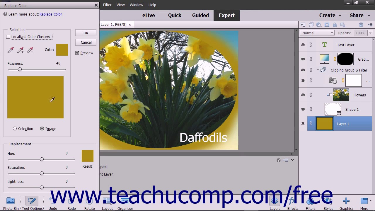 photoshop elements how to change color of an object