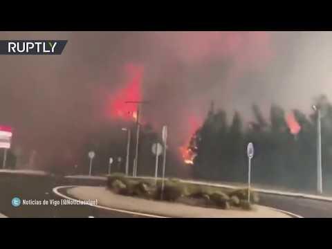España: Fuertes incendios asolan Galicia