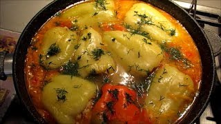 Перец фаршированный мясом рисом и кабачком Очень вкусно