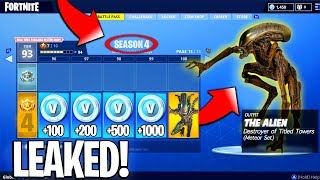 Fortnite Battle Pass Season 4 Leaked? - Fortnite Season 4 Battle Pass Skins + MORE! (NEW)