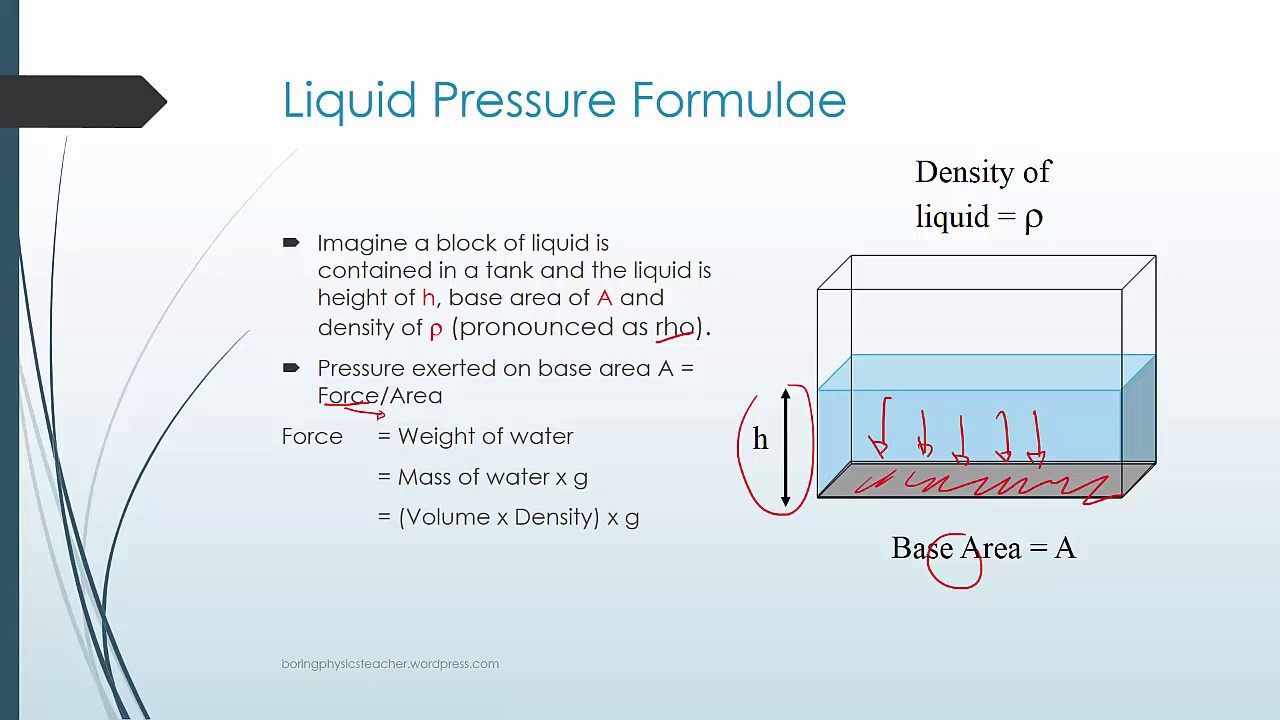 what are the factors that affect pressure of a liquid column youtube diagram of liquid pressure [ 1280 x 720 Pixel ]