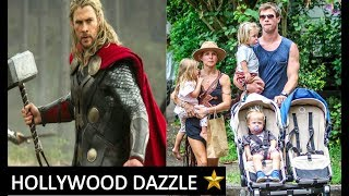 Chris Hemsworth Avengers THOR Real Life Family wife Elsa Pataky daughter and twin sons