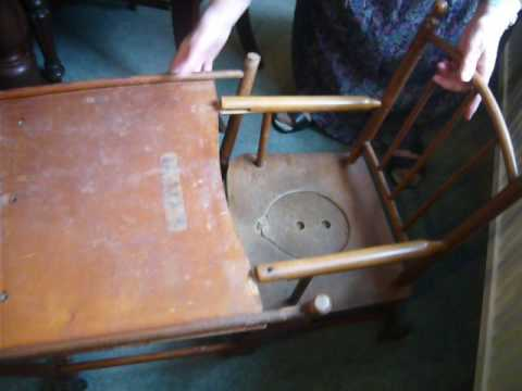 Antique wooden high chair child's play table combination