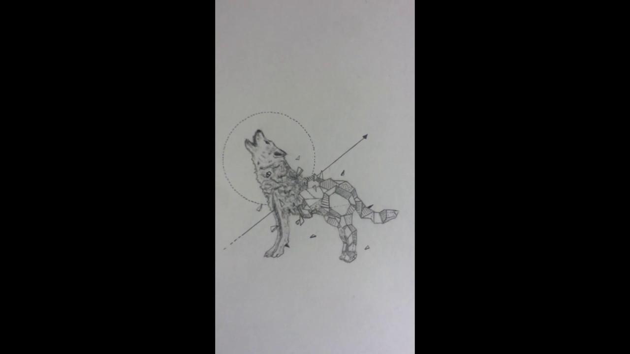 Speed Drawing Loup Semi Geometrique Semi Geometric Wolf Youtube