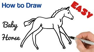How to Draw Baby Horse Foal Easy   Baby Animals Art Drawing Tutorial