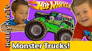 Hot Wheels Monster Truck Mega Track! HobbyTiger Toy Open + Review HobbyKidsTV