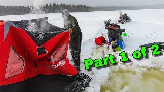 Solo Winter Camping tuŗns Dangerous while Wilderness Ice Fishing for Native Maine Brook Trout 1 of 2