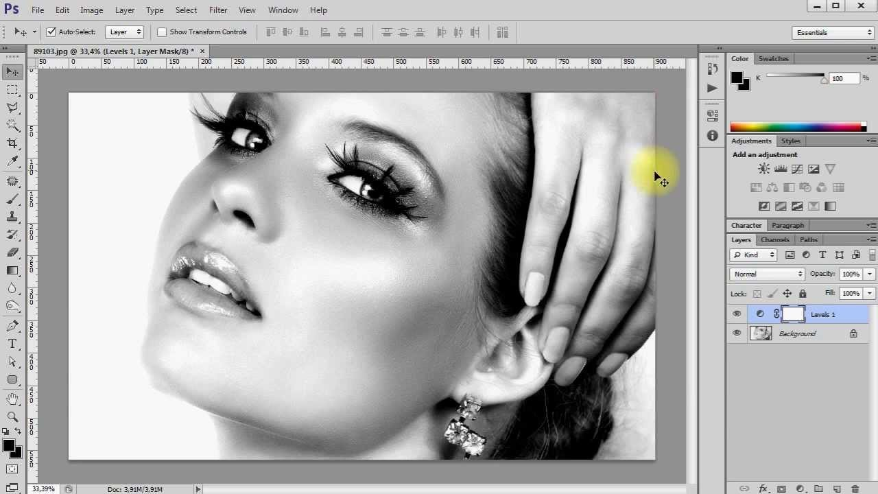 PS Как сделать черно-белое фото в Фотошоп - YouTube