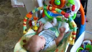 Our baby boy -3 months old- kicks light toy