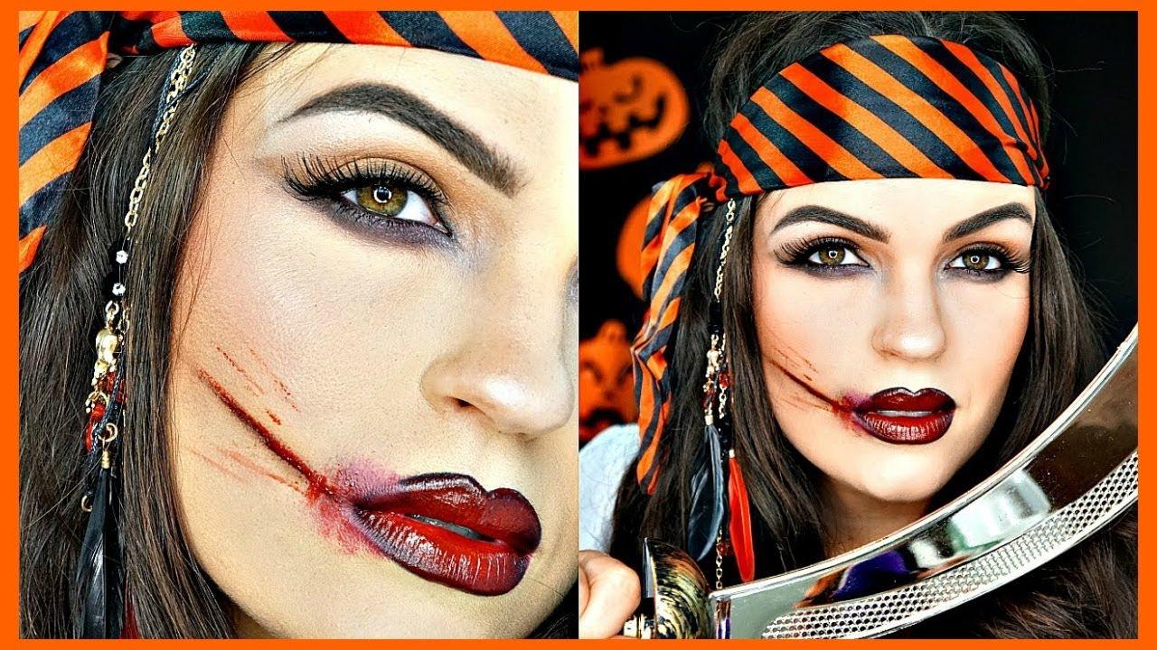 Pirate Halloween Makeup + How to Make a Fake Cut (NO LATEX) - YouTube