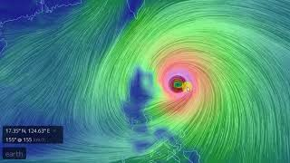 super typhoon Mangkhut makes landfall at Luzon, Philippines with gales of up to 200 km/h)