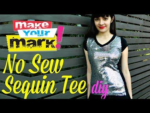 806b7558 How to: No Sew Sequin Tee DIY - YouTube