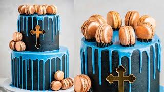 Easy Gold Macaron Communion Drip Cake Tutorial