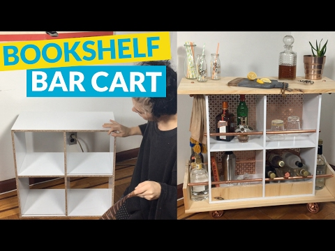 Bookcase Turned Bar Cart