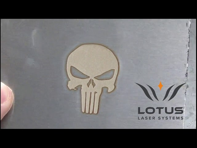 Lotus Laser Systems uMeta Laser engraving steel and aluminium with some depth