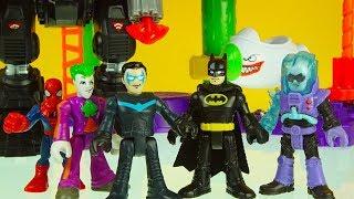 BATMAN & NIGHTWING battle JOKER & FREEZER after they steal the BATBOT ! imaginext superhero toys