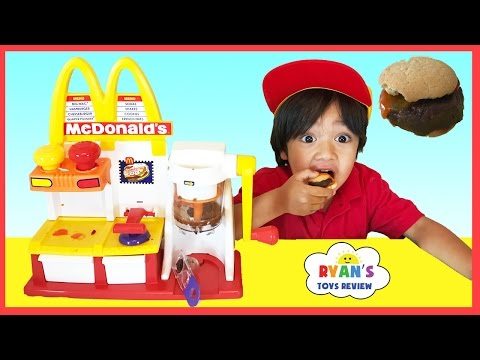 Thumbnail: MCDONALD'S HAMBURGER MAKER & McDonald's Cash Register Toys for Kids pretend Play Feed Pet Shark food