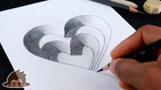 How to Draw 3D Steps Hole Heart - Drawing Videos for Kids | Art and Craft TV