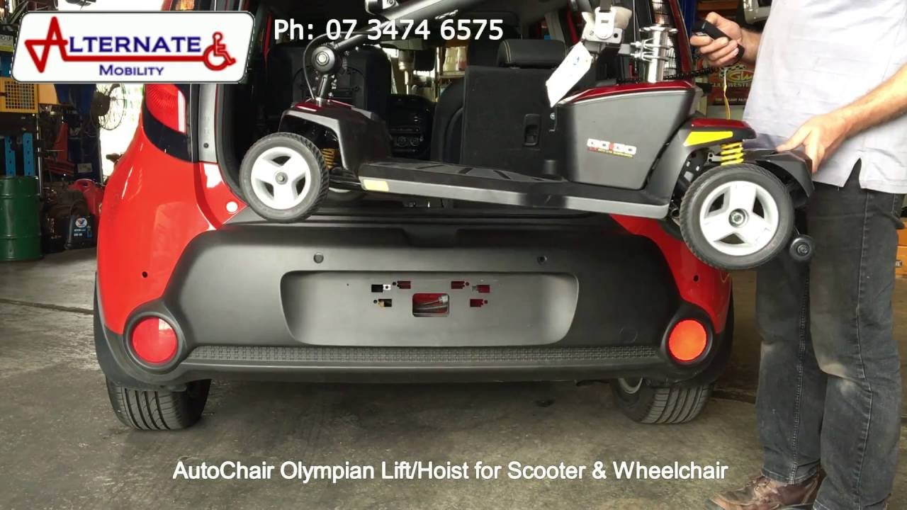 AutoChair Olympian Lift Hoists for Scooters & Wheelchairs - YouTube