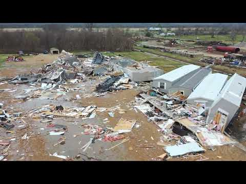12-17-2019 Alexandria, La Tornado Damage From Drone, Church Destroyed Trailers Thrown 4k