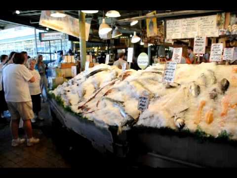 Pike place fish market throwing sockey salmon in seattle for Pike place fish market video