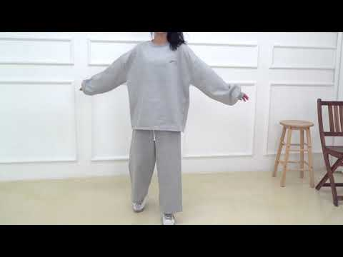 데일리 오버핏 빅사이즈 겨울 여자 기모 트레이닝세트 긴팔티셔츠 긴바지 D1006 - 그레이