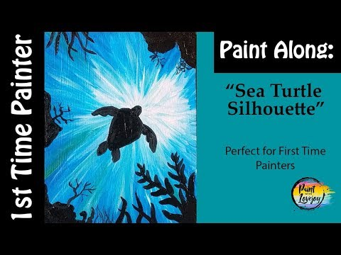 🎨-easy--first-time-acrylic-painter:-sea-turtle-silhouette-🎨😀🎨