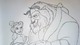Easy how to draw Beauty and the Beast 1991