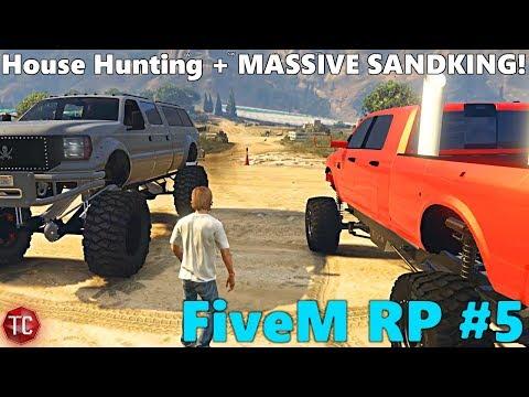 GTA FiveM RP: Part 5! House Hunting + Lifted Cummins Megacab meets HUGE SANDKING!
