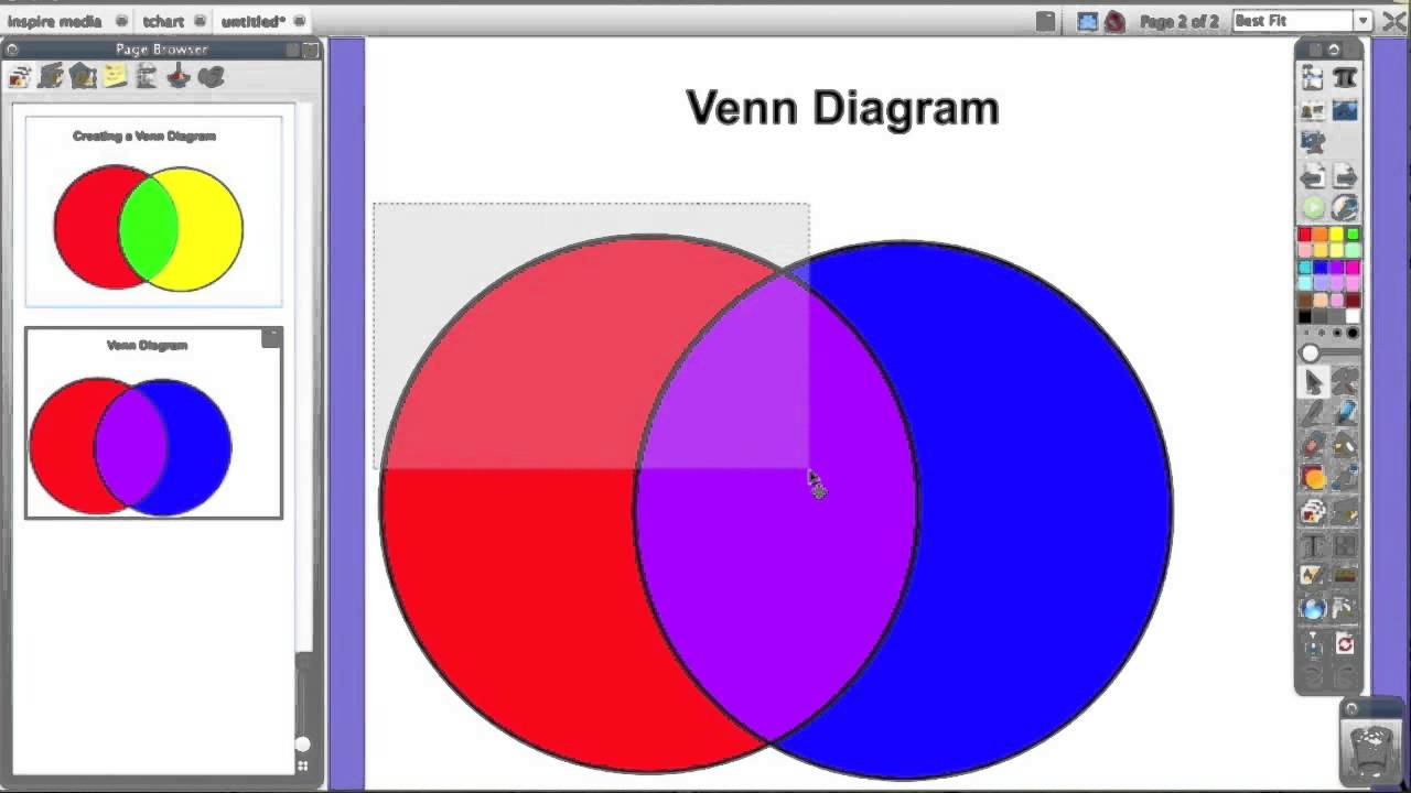 activinspire  create venn diagram