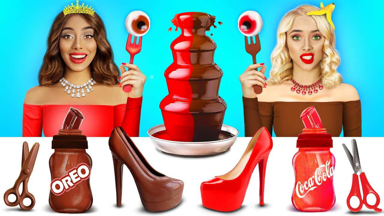 Rich VS Broke Chocolate Fondue Challenge! Funny Battle with Rich VS Poor Girl by RATATA CHALLENGE