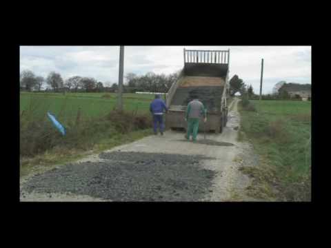 Obras reparación viais en Ponte. Silleda