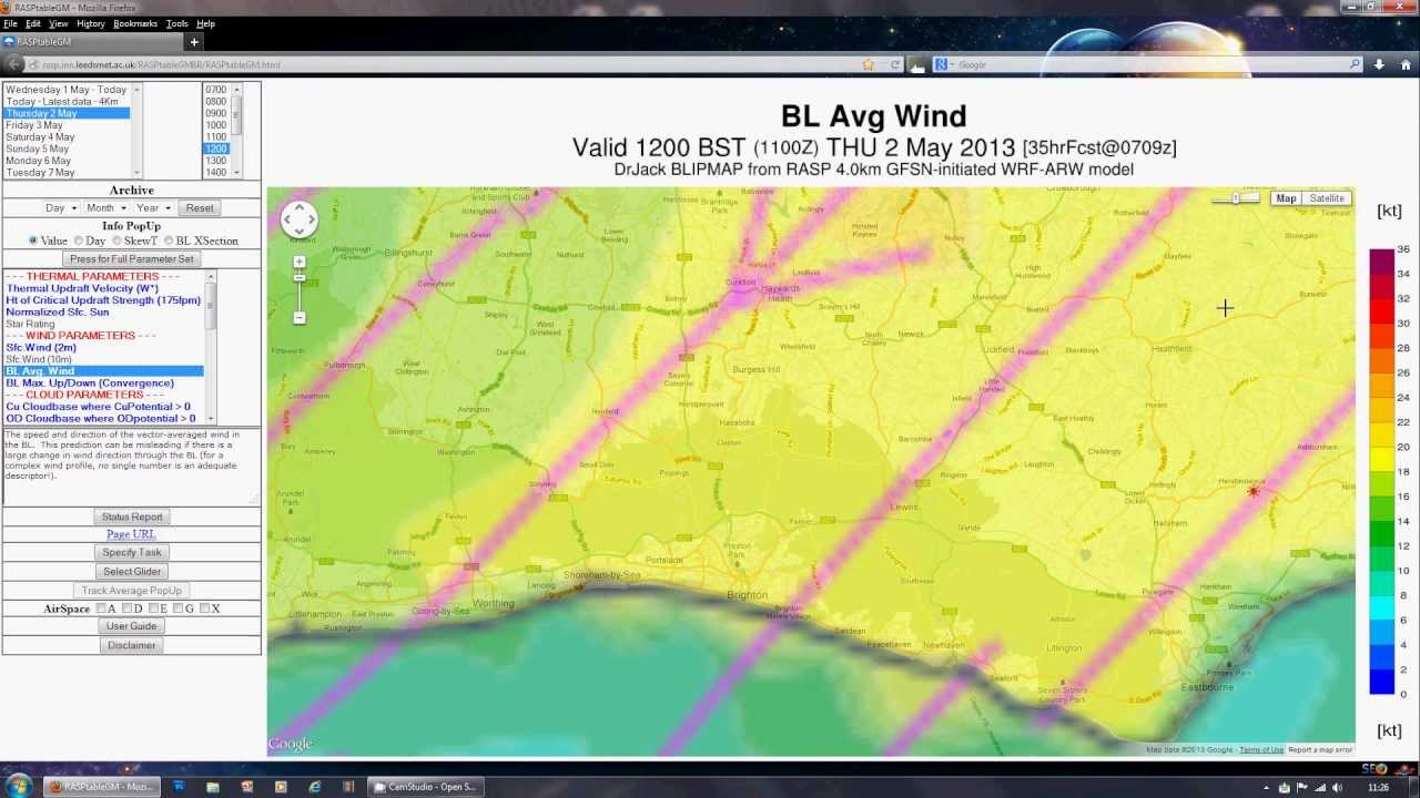 Flying Weather Map.Simple Flying Weather Forecasting For Paragliders Uk Youtube