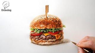 [그림 그리기] 햄버거 수채화 / 음식 정물 기초 개체…