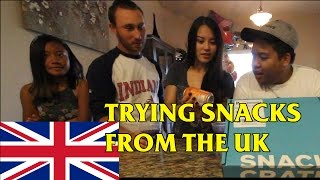 Americans Tasting Snacks from the UK Snackcrate Unboxing
