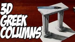 How to Draw 3D Greek Columns - 3D Drawing