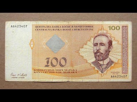 100 Bosnian Convertible Mark Banknote (Hundred Convertible Mark Bosnia and Herzegovina / 2002)