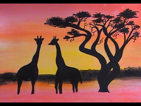 dessiner un paysage de savane fond aquarelle youtube. Black Bedroom Furniture Sets. Home Design Ideas