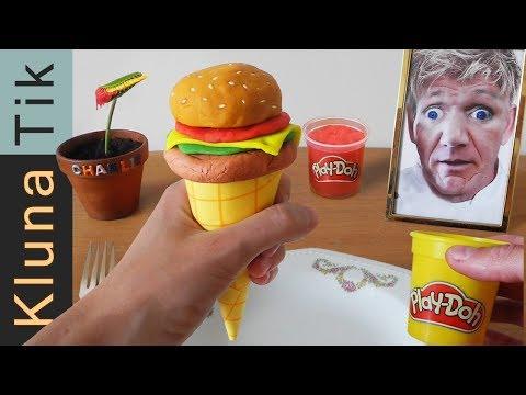 Eating a CLAY ICECREAM BURGER with GORDON RAMSAY! Kluna Tik Dinner #86 | ASMR eating sounds no talk