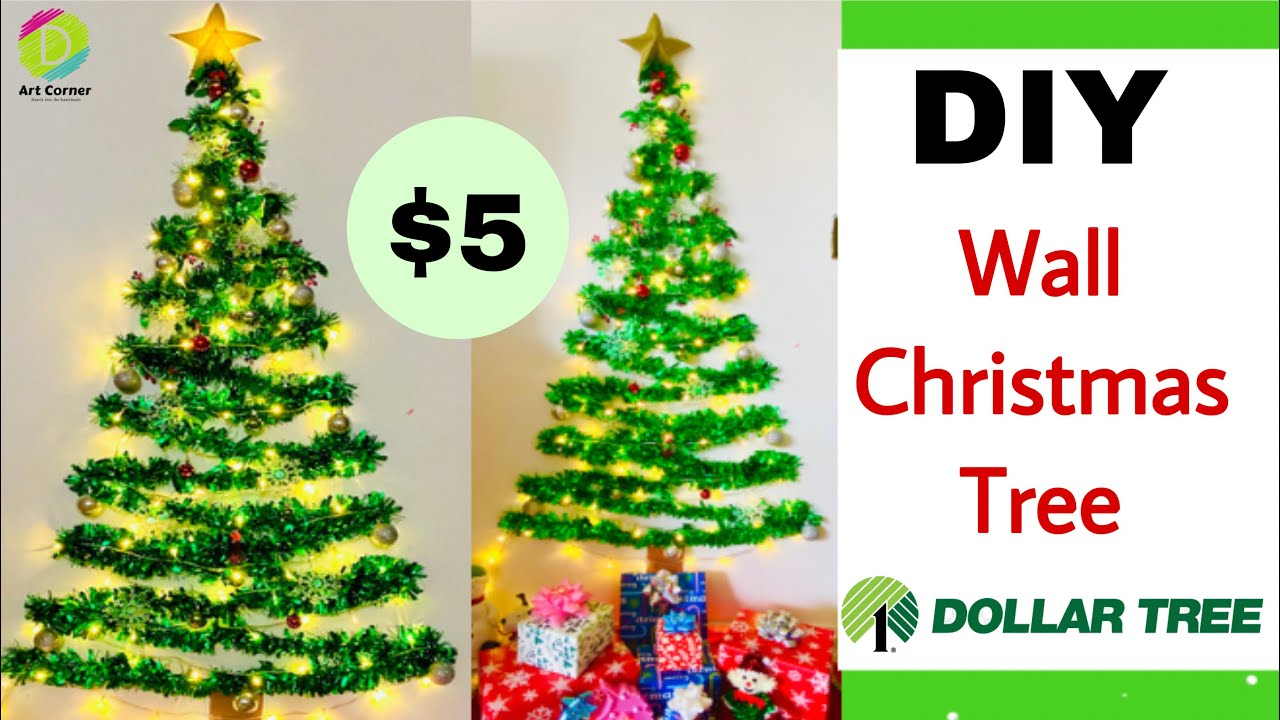 Is Dollar Tree Open On Christmas Eve 2021 Diy Wall Christmas Tree Just 5 Christmas 2020 Decor Ideas Christmas Decor Dollar Tree Youtube