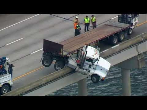 Truck Dangles From Florida Bridge Near Tampa