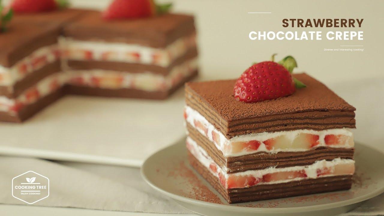 딸기 초코 크레이프 케이크 만들기 : Strawberry Chocolate Crepe Cake Recipe   Cooking tree