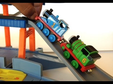 Thomas and Friends Trains Percy and Thomas on a Playset by PleaseCheckOut Channel