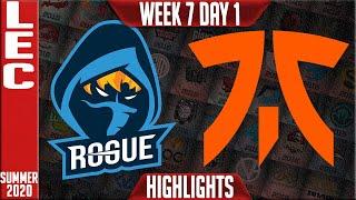 RGE vs FNC Highlights | LEC Summer 2020 W7D1 | Rogue vs Fnatic