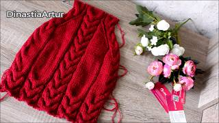 БЕСПЛАТНЫЙ МК свитер с косами спицами мальчику и девочке knit tutorial
