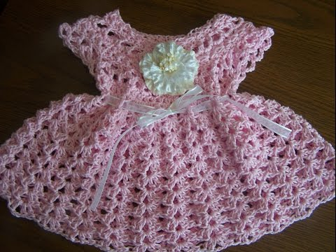video 1 crochet sparkle  cotton baby girl spring summer dress
