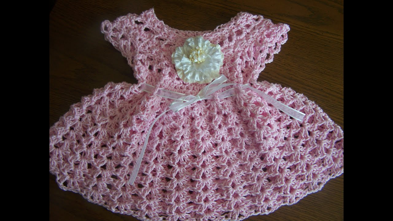 Crochet Baby Clothes : video 1 crochet sparkle cotton baby girl spring summer dress - YouTube
