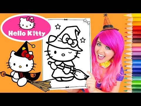 Coloring Hello Kitty Halloween Coloring Book Page Prismacolor Colored Pencil | KiMMi THE CLOWN