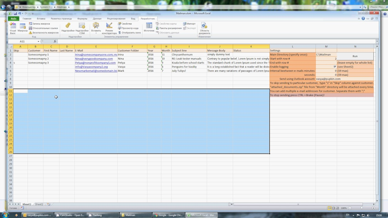How to send multiple e-mails with attachments via excel file and outlook